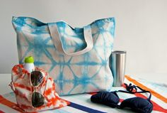 - a perfect oversized tote bag for the beach or the park or the farmers market or anywhere you need a large, but easy to carry tote! hand dyed shibori with love from #brooklyn  #summertote #handmadewithlove