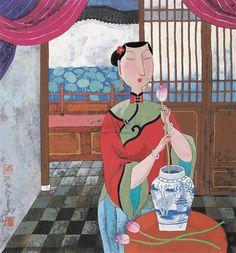 FRAGRANCE OF LOTUS, Hu Yongkai (male, 胡永凯; b1945, Beijing)