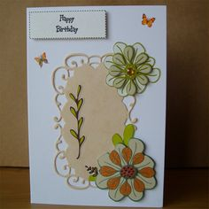 Orange and Green Birthday Card by AuntyJoanCrafts on Etsy, £2.50