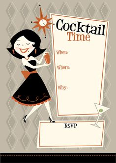 Cocktail Time by Jerrod Maruyama Cocktail Theme, Cocktail Party Invitation, Party Invitations, Cocktail Party Food, Invites, Rat Pack Party, Cocktail Illustration, Tiki Party, Party Party