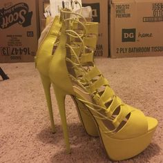 Yellow high heels NEW yellow heels only worn once! Heel is to high for me fRh Shoes Heels