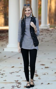 Stripes & Puffer Vest - Life With Emily
