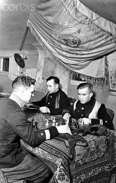 Soviet Pilots Playing Chess