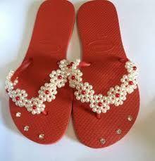 Resultado de imagen para chinelos decorados miçangas passo passo