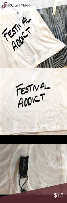 """NWT Festival addict bohemian tank top size large Super cute cropped tank. """"Festival addict"""" cute for Coachella and all the summer festivals coming this summer! Size large with a thin tee look MINKPINK Tops Crop Tops"""