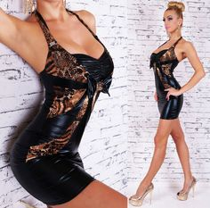 SeXy Miss Mini Kleid Party Glamour Dress Metallic Wet Leder Look Tiger S 34 M 36