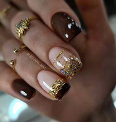 Gold Tip Nails, Wow Nails, Glam Nails, Nail Manicure, Long Nail Designs, Nail Art Designs, Subtle Nail Art, Summer Gel Nails, Golden Nails