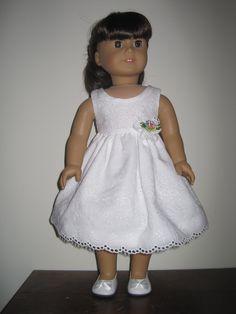 Beautiful White Eyelet Dress for American Girl and Similar 18 Inch Dolls. $27.00, via Etsy.