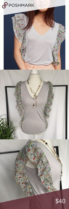 Anthro Flutter Sleeve Top Beautiful Vanessa Virginia's flutter sleeves top! Pretty, feminine floral sleeves and a soft lilac tee. Size Medium and Large. Anthropologie Tops