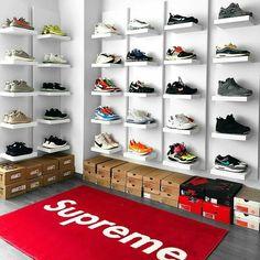 Pin by Alexwilder on Zimmer in 2019 Shoe Room, Shoe Wall, Sneaker Storage, Shoe Storage, Storage Ideas, Hypebeast Room, Shoe Store Design, Shoe Display, Box Patterns