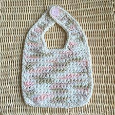 "Easy crochet bib!  Free pattern by ""The Knitless Knitter"""