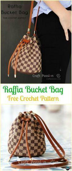 Crochet Raffia Bucket Bag Free Pattern - Crochet Handbag Free Patterns Instructions #tejido