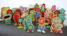 BARBARA GILHOOLY 'POP-UP GARDEN' Cut-Outs acrylic, wood cut outs on slotted stands