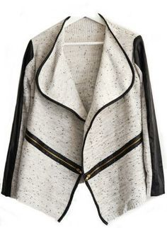 Lapel Collar Asymmetrical Gold Cream Mixed Knit PU Leather T #ustrendy #chic #edgy #streetstyle