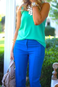 c6c227ec3b Colbalt blue pants, green top and white necklace....I. AM. IN. LOVE!!!  Perfect spring and summer outfit for work or parties!