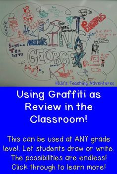 Using a Graffiti Wall as Review in the classroom is a fun, hands-on way to review materials. It can be used at ANY grade level. Let students write or draw. Click through to get more details and ideas!
