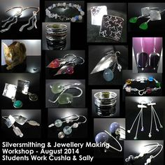 Silversmithing & jewellery making workshop in France - Fantastic creations by our very talented students Cushla & Sally during our 3 day workshop in August 2014 - more photos on our FB page and more info about workshop on our website La Vidalerie