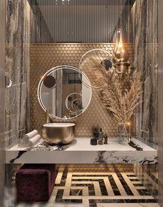 Washroom Design, Toilet Design, Bathroom Design Luxury, Modern Bathroom Design, Modern House Design, Home Room Design, Home Interior Design, Interior Decorating, Guest Toilet