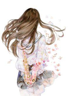 Cartoon Girl Images, Cartoon Pics, Girl Cartoon, Cartoon Art, Emo Anime Girl, Anime Hair, Anime Drawings Sketches, Cute Drawings, Anime Scenery Wallpaper