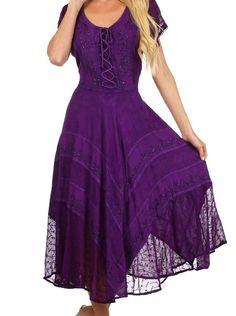 Sakkas 1322 - Sakkas Marigold Embroidered Fairy Dress - Purple - 1X/2X