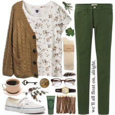 Pantalón verde - Cardigan Amarillo quemado / Beige