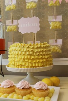 Sunshine Party -the lemon drops around the cupcakes!