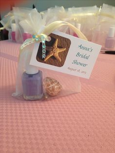 Beach themed bridal shower gift. Essie nail polish