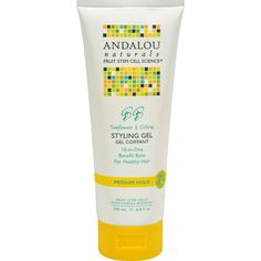 Andalou Naturals Medium Hold Styling Gel Sunflower and Citrus Description: Healthy Shine Flexible Medium Hold Fruit Stem Cell Science Repair Renew Regenerate Andalou Naturals Advanced Fruit Stem Cell