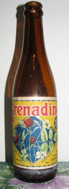 Antiga Garrafa Refrigerante Grenadine da Brahma.  (Vintage Bottle, Crush, Grapette, Gini, Fanta, Sprite, Pepsi, Mountain Dew, Soda)