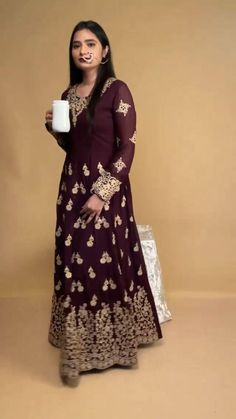 Presenting The Wine Coloured Anarkali Suit Adorned With Sequins . For more information tap below the given link: Angrakha Style, Indian Classical Dance, Indian Salwar Kameez, Anarkali Suits, Indian Fashion, Party Dress, Sequins, Fashion Design, Color