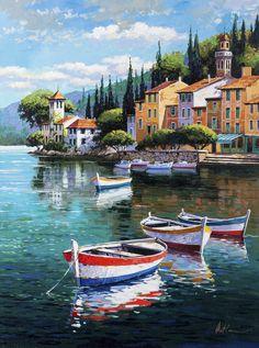 Anatoly Metlans Kunst – Ihsan – Join the world of pin Watercolor Landscape, Landscape Art, Landscape Paintings, Watercolor Art, Beautiful Paintings, Beautiful Landscapes, Mediterranean Paintings, Boat Art, Seascape Paintings