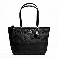 COACH SIGNATURE STRIPE STITCHED NYLON POCKET TOTE  On Sale 67.00