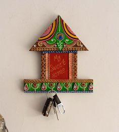 Diy Crafts For Gifts, Diy Home Crafts, Clay Crafts, Handmade Crafts, Paper Crafts, Dry Fruit Box, Door Hanging Decorations, Thali Decoration Ideas, Name Plates For Home