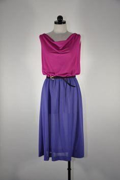 70s sheer chiffon sleeveless dress / vintage purple by QuietUnrest, $40.00