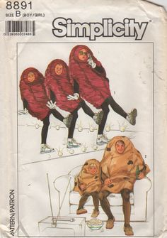 Simplicity 8891 1980s Boys Girls California Raisin and Couch Potato Costume Pattern Childs Vintage 80s Sewing