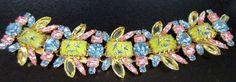 DiMARTINO ORIGINALS Exquisite RARE Painted Bird Cabochon Rhinestone Bracelet
