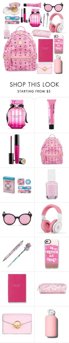 """""""What's in my backpack: Pink edition"""" by melanieberry ❤ liked on Polyvore featuring Victoria's Secret, SkinRx Lab, Lancôme, MCM, Essie, Spektre, Nicki Minaj, Irregular Choice, Casetify and Smythson"""