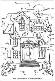 Haunted house colouring page, Halloween colouring pages