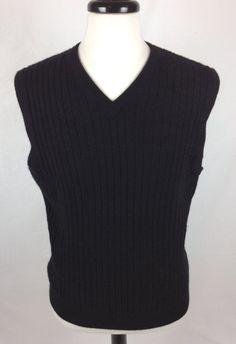 Lands End Cashmere Sweater Mens Black Sleeveless Vest M #LandsEnd #Vest