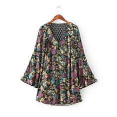 Hollow Floral Print Flare Sleeve Vintage Dress