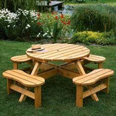 Outdoor Solid Wood WATSONS Garden Cartwheel Table
