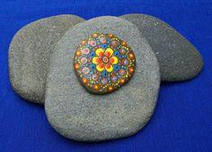 Hand painted mandala stone, painted beach stone with mandala flower design, mandala style stone art, decorated rock