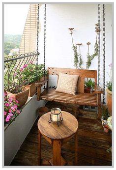 Ideas Apartment Patio Decor Tiny Balcony Porches For 2019 Balcony Swing, Balcony Chairs, House With Balcony, Small Balcony Decor, Small Balcony Design, Tiny Balcony, Balcony Furniture, Small Patio, Balcony Ideas