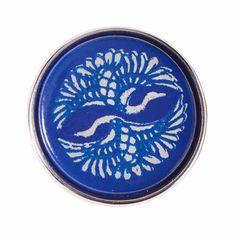 NOOSA Chunk TSURU blau: Der Tsuru (Kranich) kann japinischen Legenden her bis zu 100 Jahre alt werden. Er steht für ein langes und glückliches Leben.
