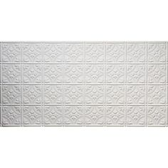 Faux 2 ft. x 4 ft. Glue-up Tin Style White Ceiling Tile for Surface Mount-209-50 - The Home Depot  **For diy ottoman