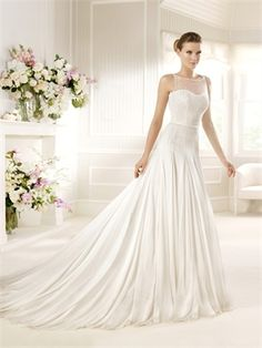 Boat Neckline Dropped Waist Beaded Embroidered Chiffon Tulle Wedding Dress WD1087