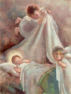 Adelina Zandrino (It, - La nanna - illustrazione Christmas Nativity, Christmas Angels, Vintage Christmas, Angel Pictures, Jesus Pictures, Vintage Pictures, Vintage Images, Holy Mary, Prayer Cards