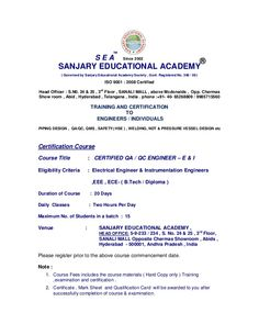 Sanjary Education Academy provides various certified qa/qc courses such as QA/QC Manager, Piping Engineer, Welding Engineer SEA CWI, and Welding Inspector. visit us: http://www.qaqccourse.com/