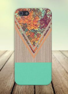 Chevron Fall Leaves Wood Case for iPhone