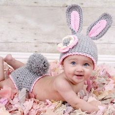 Bunny Grey Pink Photography baby Prop Outfit Hat Cap Ears Easter Halloween Costume Newborn Infant